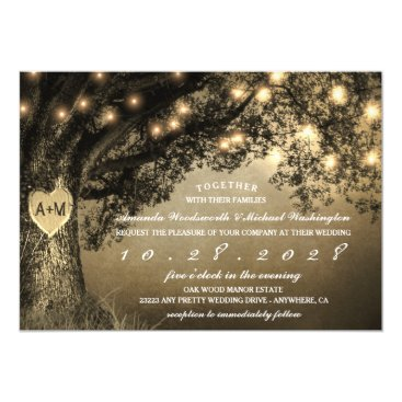 Vintage Rustic Carved Oak Tree Wedding Invitations