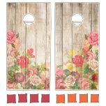 Vintage Rustic Romantic Roses Wood Cornhole Set