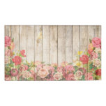 Vintage Rustic Romantic Roses Wood Name Tag