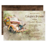 Vintage Rustic Truck Trendy Couple's Shower Invitation
