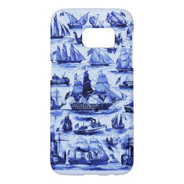 VINTAGE SAILING VESSELS AND SHIPS,Navy Blue Samsung Galaxy S7 Case