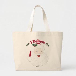 Vintage Santa I Believe Christmas Tote Bags