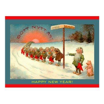 Vintage Scandinavian Tomte Happy New Year Image Postcard