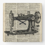 Vintage Sewing Machine Stencil Over Old Book Page Square Wallclocks