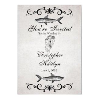 Vintage Shark and Jellyfish Beach Wedding Invite 5