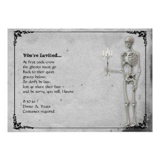 Vintage Skeleton Halloween Party Custom Invitations