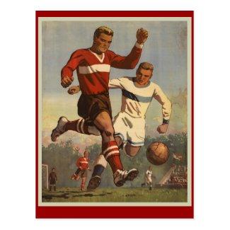 Vintage soccer football poster Postcards