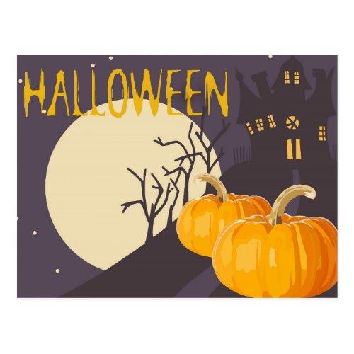 Vintage Spooky Halloween Moon and Pumpkin at Night Postcard