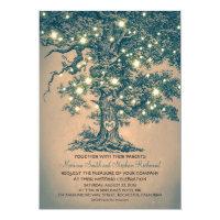 Vintage String Lights Tree Rustic Wedding Invites