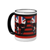vintage style red and black stripe gothic skull with union jack coffee mug