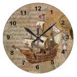 Vintage Stylish Ship Design Large Clock