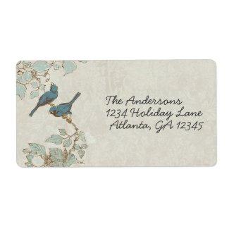Vintage Teal Birds Damask Wedding Label