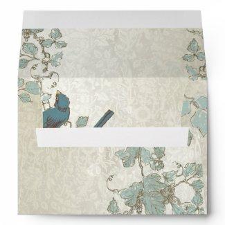 Vintage Teal Birds Wedding Envelope
