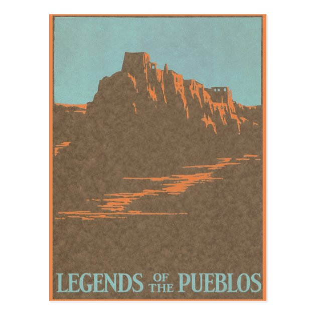 Vintage Travel Poster Taos New Mexico Postcard