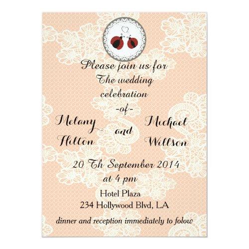 Vintage trendy lace cute ladybugs in love wedding card