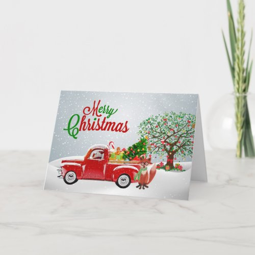 Vintage Truck and Fox Christmas Card