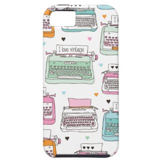 Vintage typewriter pattern art iphone 5 case
