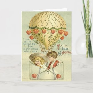 Vintage Valentine Hot Air Balloon Card