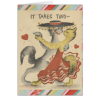 Vintage Valentines Cats Greeting Card