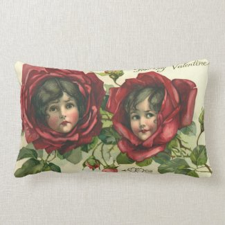 Vintage Valentine's Day, Victorian Faces in Roses Throw Pillow
