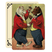 Vintage Victorian Dancing Bears Wedding Invitation