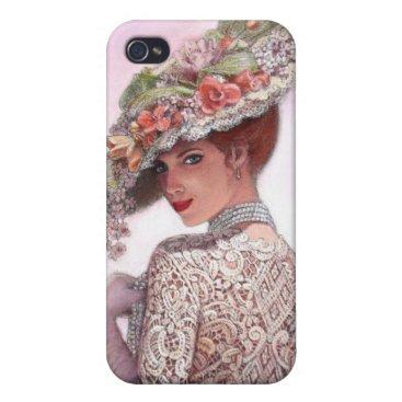 Vintage Victorian Lady floral hat Fine Art iPhone 4 Case