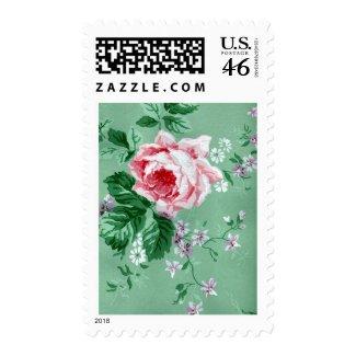 Vintage Victorian Pink Rose Wallpaper Postage stamp