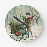 vintage,victorian,rustic,christmas,pattern,girl round wall clocks