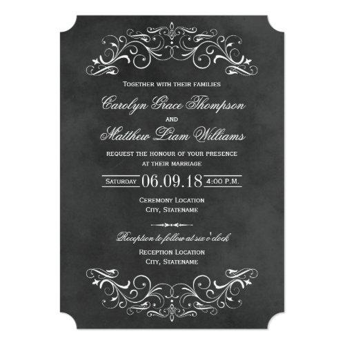 Vintage Wedding Invitations   Chalkboard Flourish
