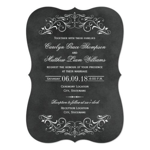 Vintage Wedding Invitations | Chalkboard Flourish
