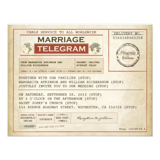 Personalized Old Telegram Invitations