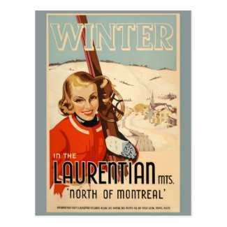 Vintage winter skiing poster postcard