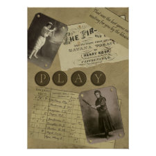 Vintage Women's Baseball Scrapbook Print