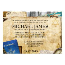 Vintage World Travel Bar Bat Mitzvah Invitation