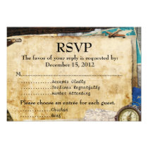 Vintage World Travel Bar Bat Mitzvah RSVP Invitation