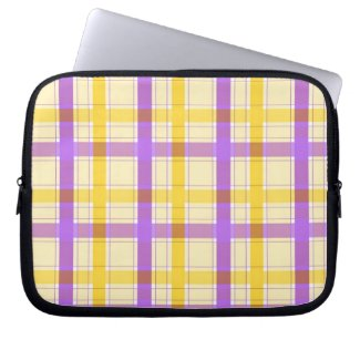 Violet and yellow plaid pattern laptop sleeve