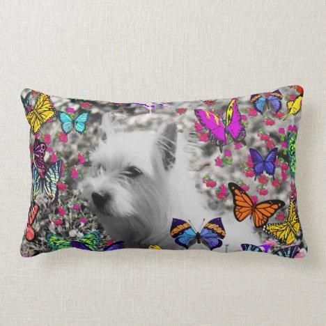 Violet in Butterflies – White Westie Dog Lumbar Pillow