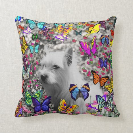 Violet in Butterflies – White Westie Dog Throw Pillow
