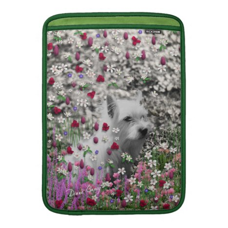 Violet in Flowers – White Westie Dog Sleeve For MacBook Air