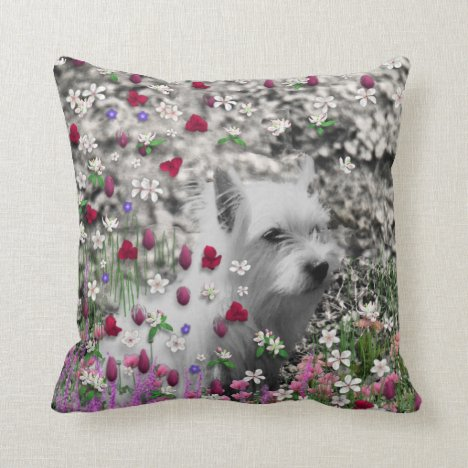 Violet in Flowers – White Westie Dog Throw Pillow