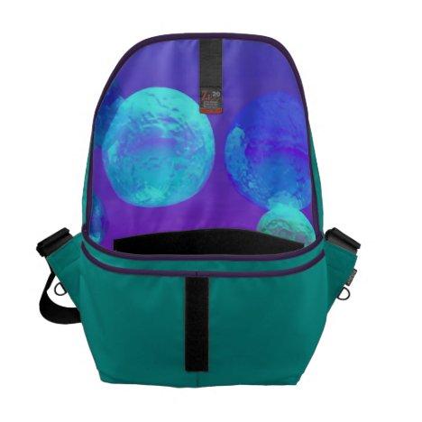Violet Mist - Cyan and Purple Abstract Light Messenger Bag