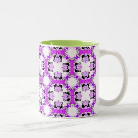 Violet Purple Flowers Abstract Modern Lattice Two-Tone Coffee Mug