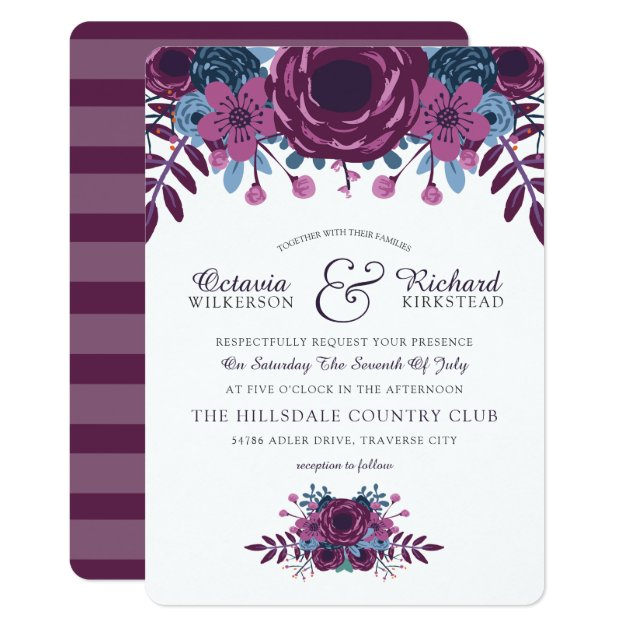 Violet Watercolor Fl Wedding Invitation