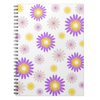 Violet yellow flowers spiral note books