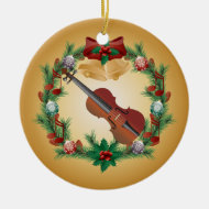 Violin Christmas Wreath Music Ornament Gift