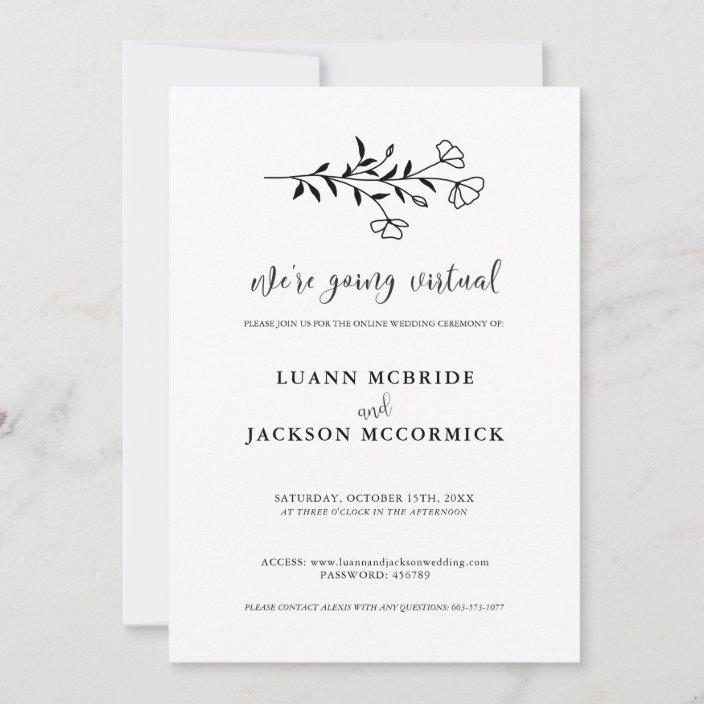 virtual black white floral wedding invitation card zazzle com
