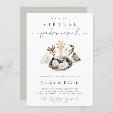 Virtual Gender Reveal He or She Animals Faux Gold Invitation