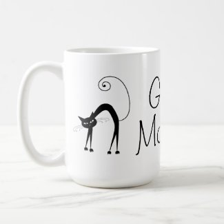 Black Cat Good Morning Coffee Mug