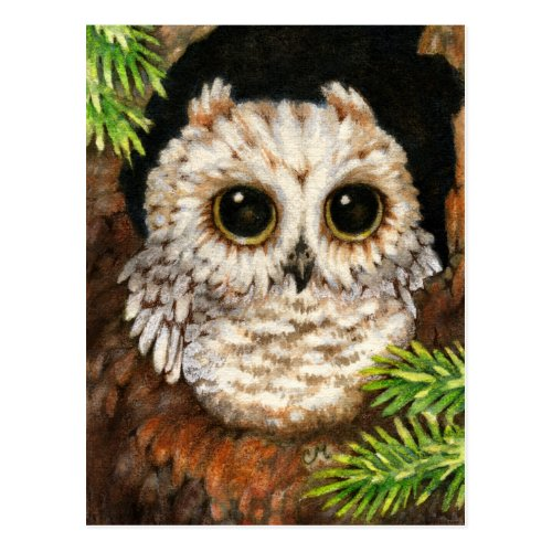 Wake Up, Little Owl Postcard by The Whimsical Art of Carmen Medlin