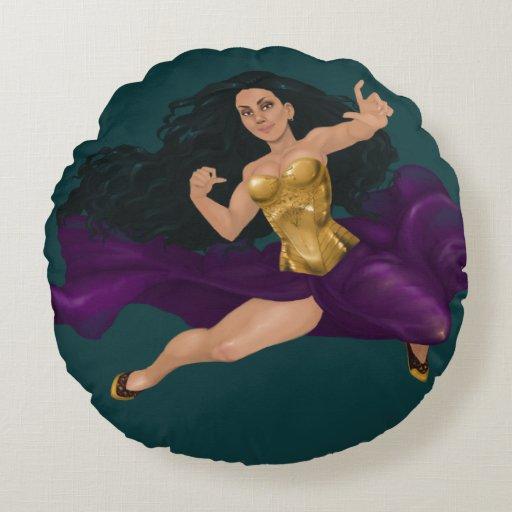 Warrior Princess Lucy Round Throw Pillow (16